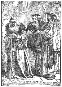Antonio reproaching Shylock (characters from William Shakespeare